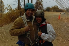 Rick San Nicolas, Brenda Bautista getting ready to zip line